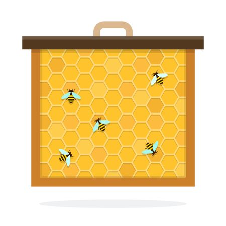 Bee honeycomb vector flat material design isolated object on white background.