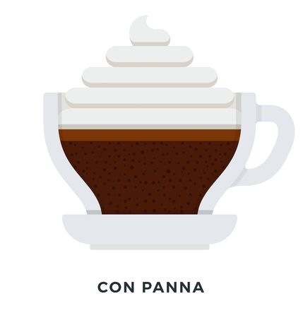 Con Panna coffee vector flat material design isolated on white