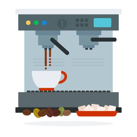 Coffee machine makes coffee coffee beans and sugar cubes vector flat material design isolated on white