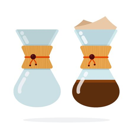 Kemeks with coffee and empty kemeks vector flat material design isolated on white Ilustrace