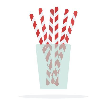 Cocktail straws in a glass vector flat material design isolated on white
