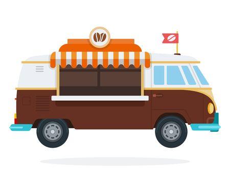 Coffee shop on wheels vector flat isolated