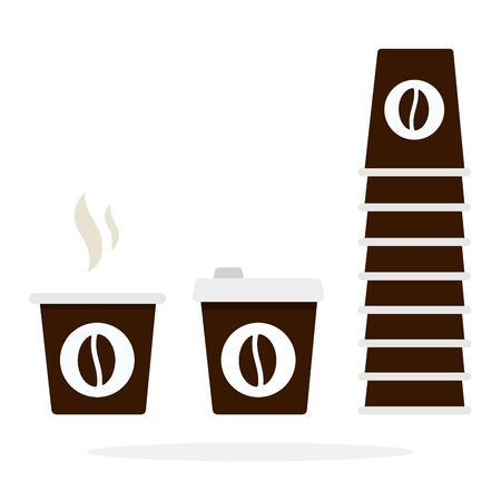 Tower of disposable coffee cups and plastic cup with smoke Illustration