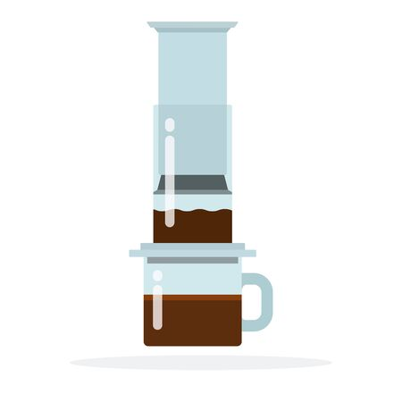 Aeropress coffee method vector flat isolated