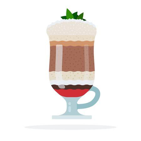Milkshake with ice cream and mint vector flat isolated Illustration