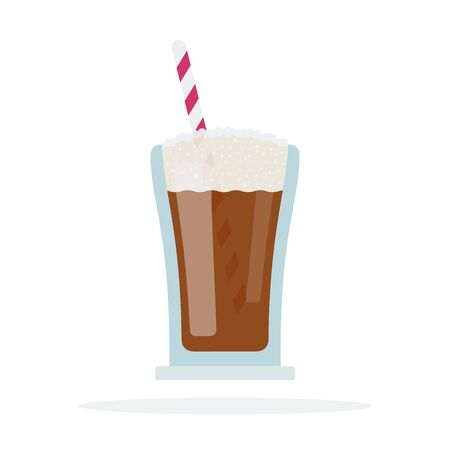 Cocoa in a glass with a straw vector flat isolated