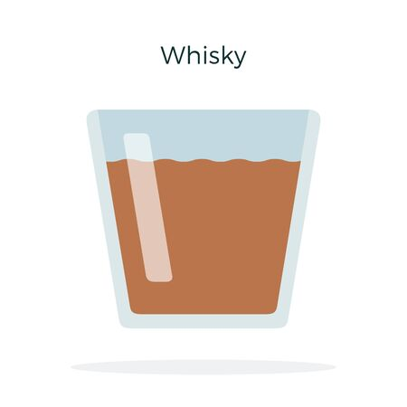 Whiskey in a glass vector flat isolated