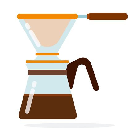 Coffee maker with filter vector flat isolated Ilustrace