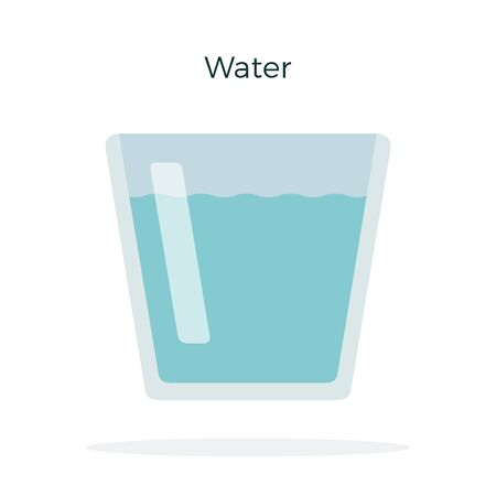 Glass with water vector flat isolated