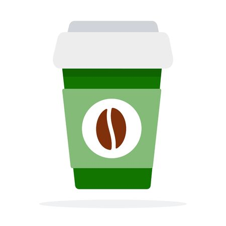 Large plastic coffee cup with lid and coffee bean print vector flat isolated