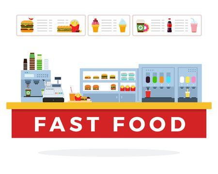 Diseño de material plano de vector de mercado de comida rápida aislado en blanco