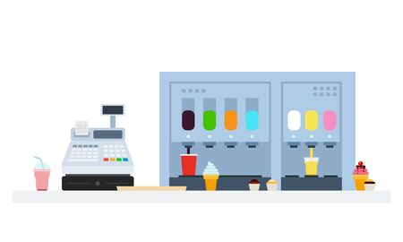 Ice cream and beverages machines with cash register vector flat material design isolated on white
