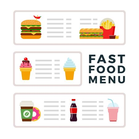 Fast food menu with ice cream, burgers and drinks vector flat material design isolated on white