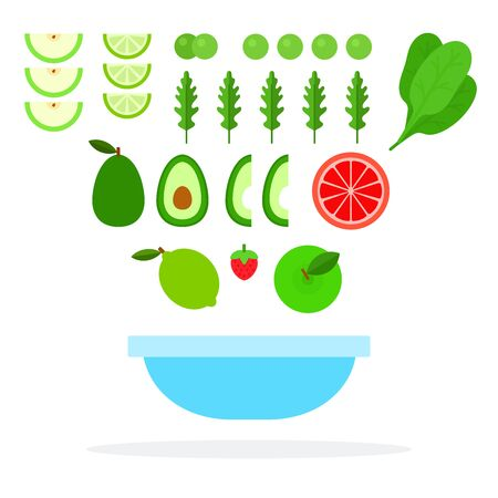 Slices of lime, apple, avocado, grapefruit, spinach leaves, arugula, apple, fly over a plate vector flat material design isolated on white