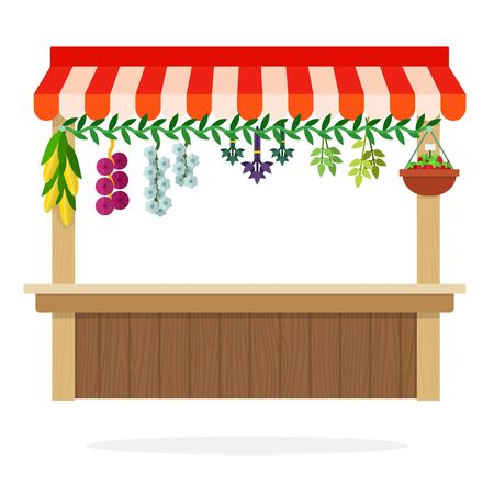 Counter of vegetable kiosk with suspended herbs onion and corn vector flat material design isolated on white