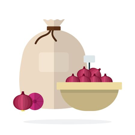 Red onion in a basket and linen sack vector flat material design isolated on white