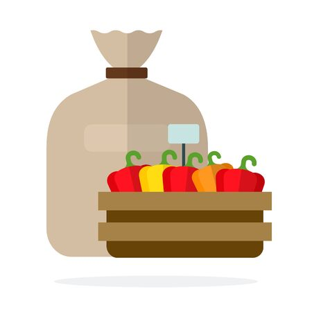 Linen sack and sweet peppers in a wooden container flat isolated Ilustracja