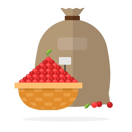 Wicker basket of cherry and Linen bag vector flat material design isolated on white