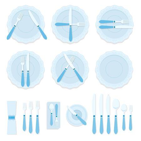 Gebärdensprache mit Besteck und Besteck zum Servieren von Tischen, Vektor flach isoliert