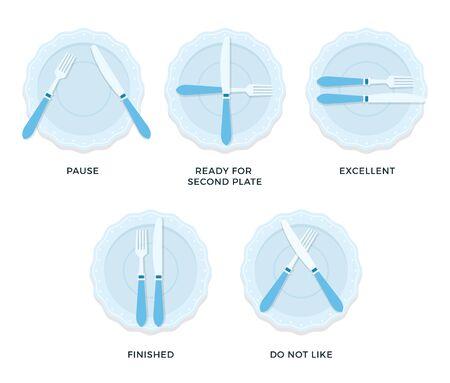 Règles de table étiquette vecteur plat isolé