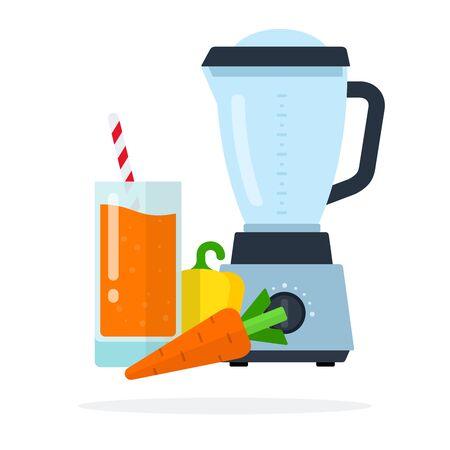 Vegetable juice in a glass, carrots, yellow pepper and blender flat isolated