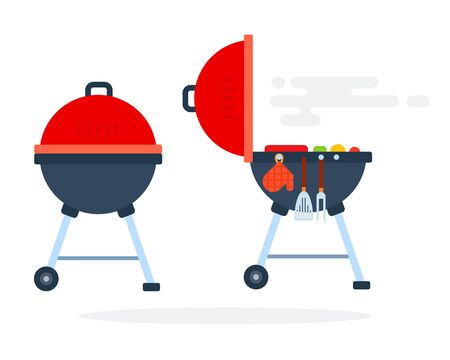 Open and closed round grill with grilling equipment flat isolated Illustration
