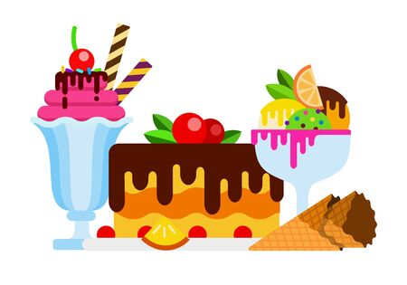 Ice cream in vases with fruit and topping. Cake with berries and chocolate icing flat isolated Illustration