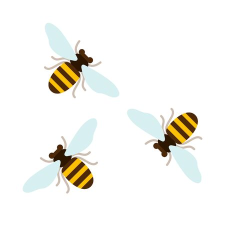 Three flying bees top view vector flat material design isolated on white
