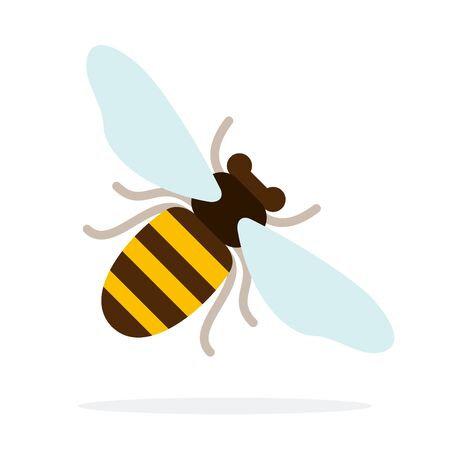 Honey bee at an angle vector flat material design isolated on white Иллюстрация