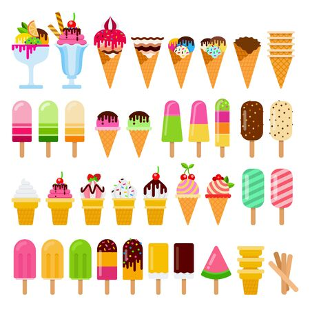 Set of ice-cream on a stick in waffle cones and in crockery vector flat isolated