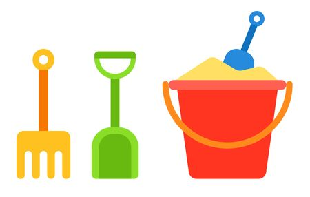 Red baby bucket with sand and shovel and rake for a sandbox next to it vertically vector flat icon isolated on white Banco de Imagens - 137168915