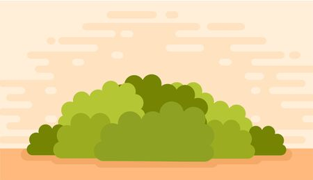 Lush green bushes on a hot summer evening vector icon flat illustration isolated on white