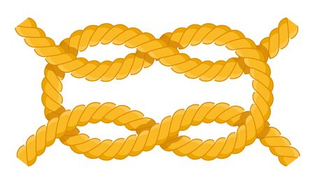 Reef knot. Fastenings for masts, rey, sails. Reef knot vector flat icon isolated on white