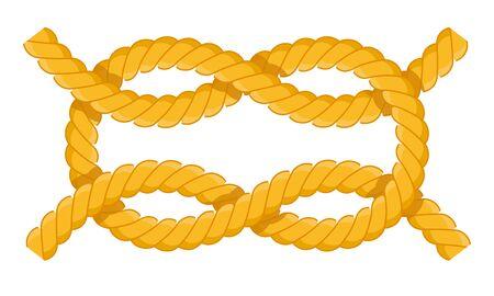 Riffknoten. Befestigungen für Masten, Rey, Segel. Riff-Knoten-Vektor-flaches Symbol isoliert auf weiss