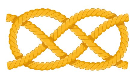 Carrick band knot. Fastenings for masts, rey, sails. Carrick band knot vector flat icon isolated on white