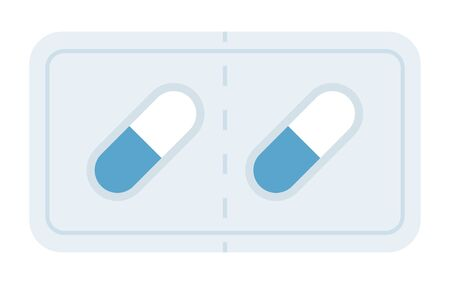 Packed drug capsules in a gelatin shell vector icon flat isolated