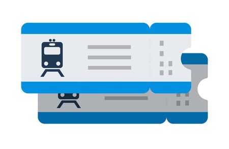 Train tickets vector flat isolated on white