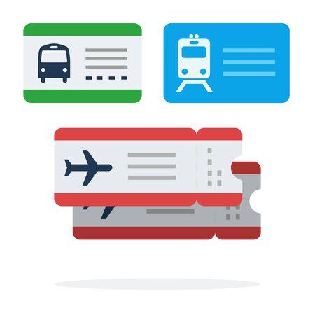 Tickets für den öffentlichen Nahverkehr Vektor flach isoliert auf weiss