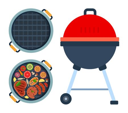 Grill on wheels, round grill with meat, fish and vegetables top view and empty round grill top view flat isolated