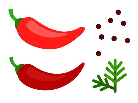 Spicy red peppers, a handful of black peppercorns and a sprig of dill flat single icon vector isolated on white