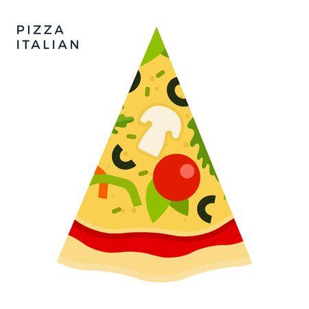 Italian Pizza flat icon vector isolated