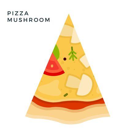Mushroom Pizza flat icon vector isolated
