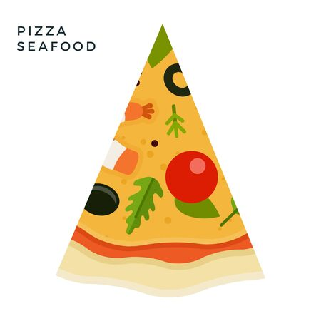 Triangular piece of Seafood Pizza flat single icon vector isolated on white