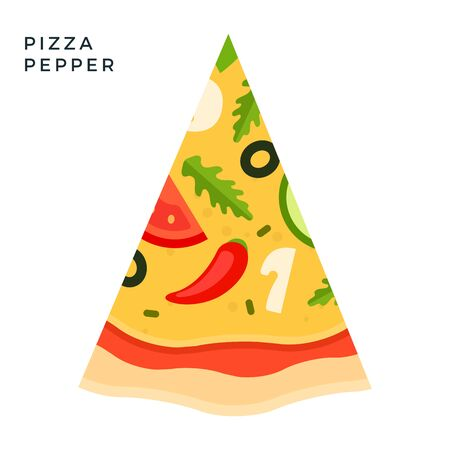 Pepper Pizza flat icon vector isolated