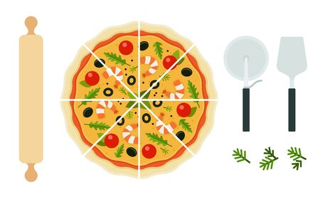 Seafood pizza with appliance vector flat isolated