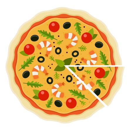 Seafood Pizza with a cut piece flat icon vector isolated
