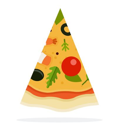 Piece of pizza with seafood vector flat isolated
