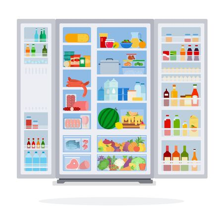 Open refrigerator filled with product flat isolated
