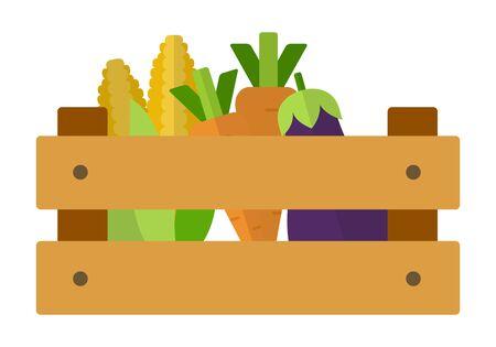 Carottes, aubergines et maïs dans une boîte en bois vecteur conception matérielle plate isolée sur blanc