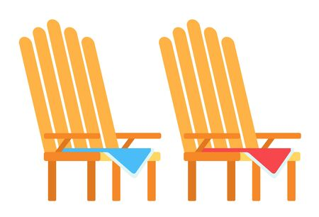 Two wooden picnic folding chairs with seat mats vector flat icon isolated on white Illusztráció